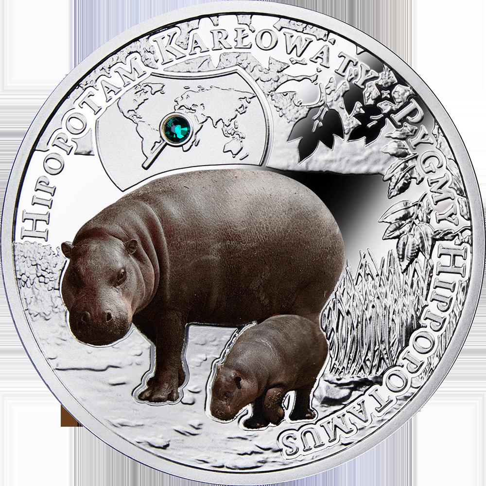 Pygmy Hippopotamus, 1 dollar, Series: SOS to the World – Endangered Animal Species