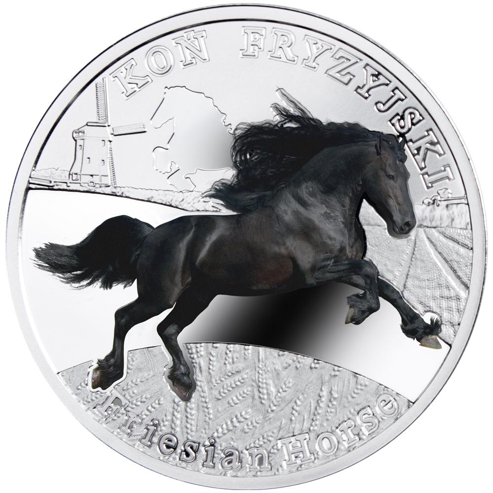 Friesian Horse, 1 dollar, Series: Man's best friends - Horses