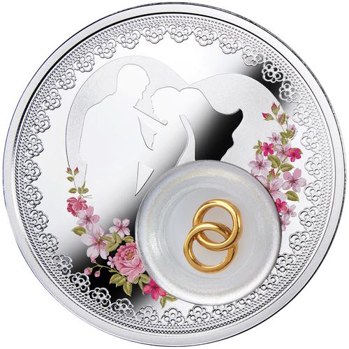 Wedding coin, 2 dollars (silver coin)