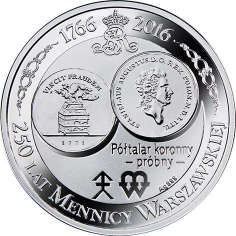 Półtalar koronny – próbny, Seria: 250 lat Mennicy Warszawskiej