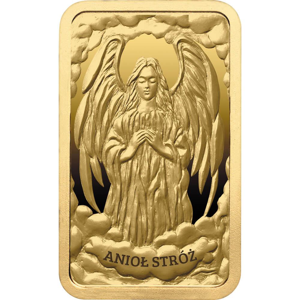 Sztabka Anioł stróż, złoty numizmat