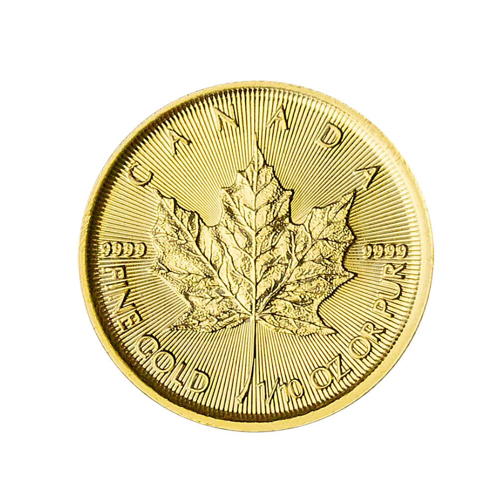 Liść Klonowy 1/10 oz. 5 dolarów kanadyjskich - Złota moneta bulionowa Maple Leaf
