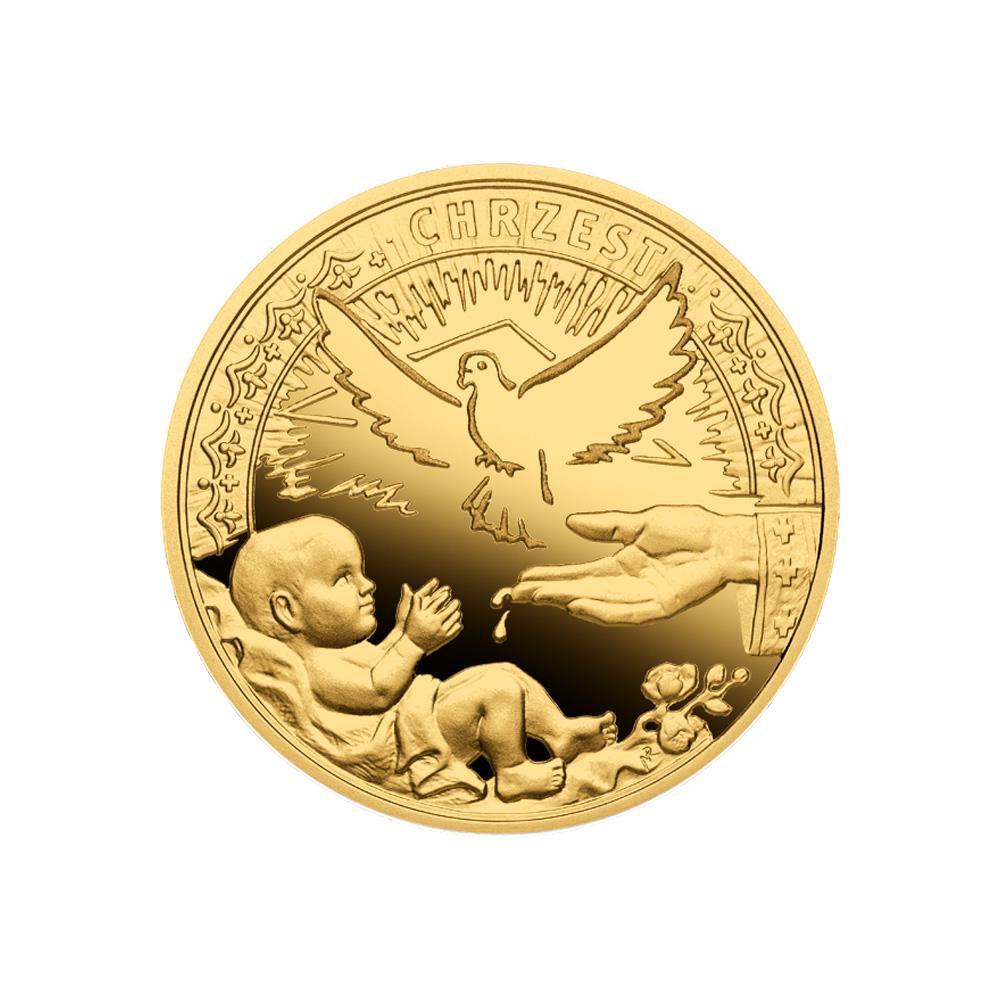 Sakrament chrztu świętego, złoty numizmat