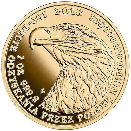Bielik - złota moneta bulionowa 1 oz. - 100-lecie odzyskania przez Polskę niepodległości