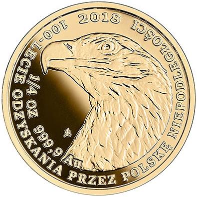 Bielik - złota moneta bulionowa 1/4 oz. - 100-lecie odzyskania przez Polskę niepodległości