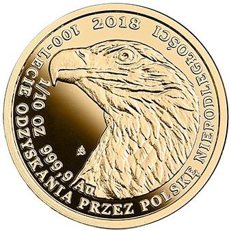 Bielik - złota moneta bulionowa 1/10 oz. - 100-lecie odzyskania przez Polskę niepodległości