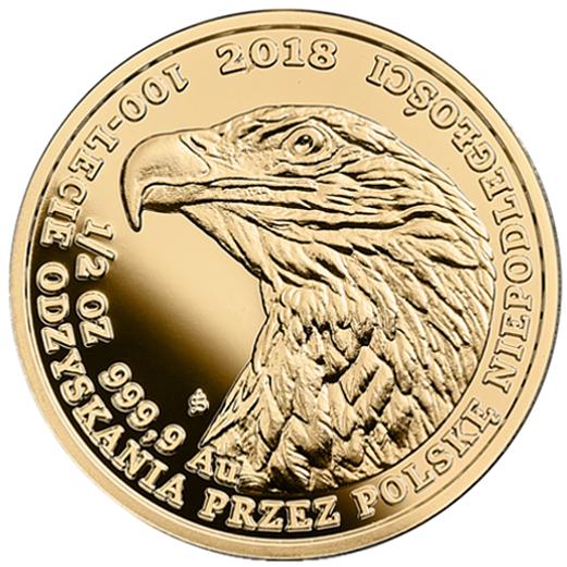 Bielik - złota moneta bulionowa 1/2 oz. - 100-lecie odzyskania przez Polskę niepodległości