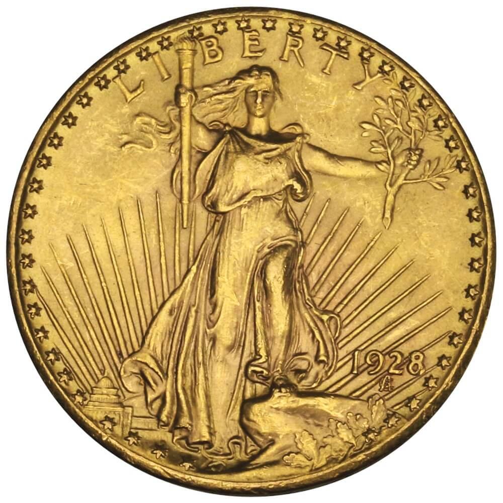 Złota moneta dwudziestodolarowa Saint Gaudens Double Eagle (podwójny orzeł), różne roczniki